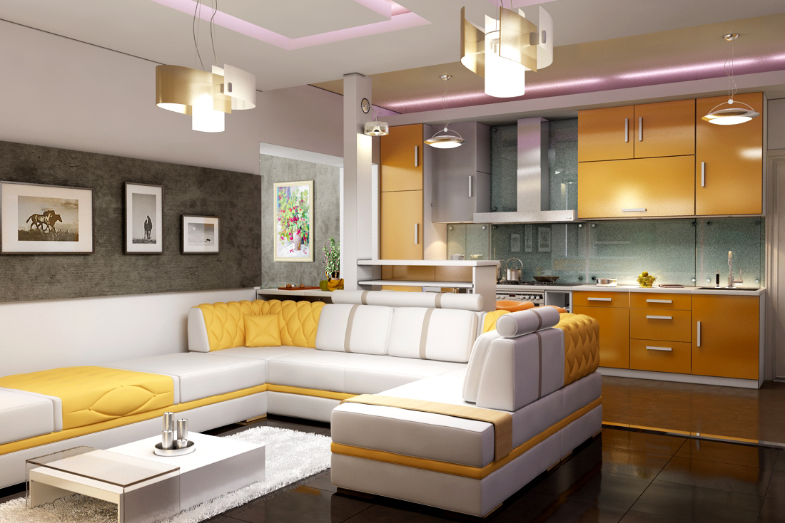 Фото кухонь гостиных